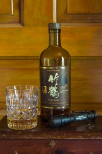 Taketsuru Whisky and Surefire E2D Flashlight